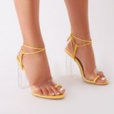 PUBLIC DESIRE MATCHA PERSPEX STRAPPY BLOCK HEEL IN YELLOW – clear high heels
