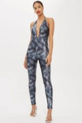 Moon Dreamers Mermaid Halter Neck Jumpsuit in Blue | fitted plunge front jumpsuits