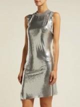 PACO RABANNE Silver Mesh round-neck asymmetric mini dress