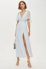 Topshop Metallic Striped Plunge Dress in Ice Blue | vintage romance