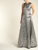 ROCHAS Metallic-silver wool-blend jacquard gown ~ luxe event wear