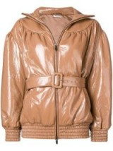 MIU MIU brown patent puffer jacket / high shine / autumn fashion