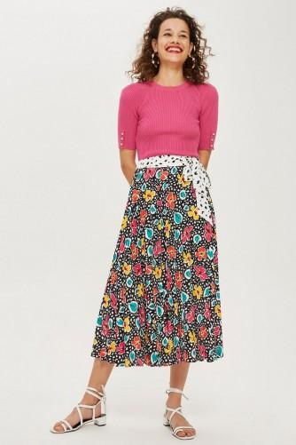 Topshop Mixed Floral Pleat Midi Skirt – multicoloured prints
