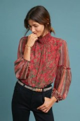 Bl-nk Mixed Motif Blouse in Red Motif | floral high-neck boho top | sheer sleeves