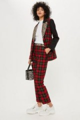 TOPSHOP Mixed Tartan Check Trousers / red checked pants