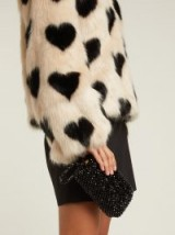SHRIMPS Molly black faux pearl-embellished clutch bag / small beaded bags