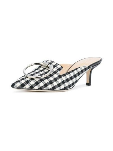 MONSE checked pointed mules / gingham print kitten heels - flipped