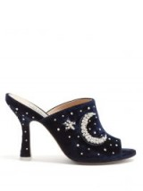 ATTICO Moon and star-embellished moire mules | dream party heels | celestial inspiration