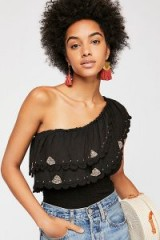 Free People Moon Solstice Top black / one shoulder tiered boho top