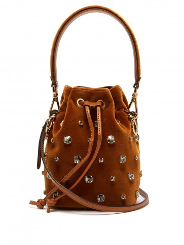 FENDI My Secrets crystal-embellished tan velvet bucket bag / small top handle bags / luxe crossbody