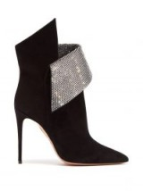 AQUAZZURA Night Fever black suede crystal-embellished ankle boots / glittering sculptural bootie