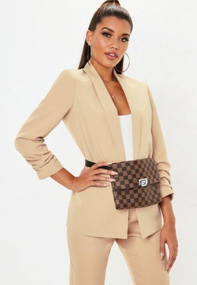 MISSGUIDED nude ruched sleeve blazer – neutral jackets - flipped