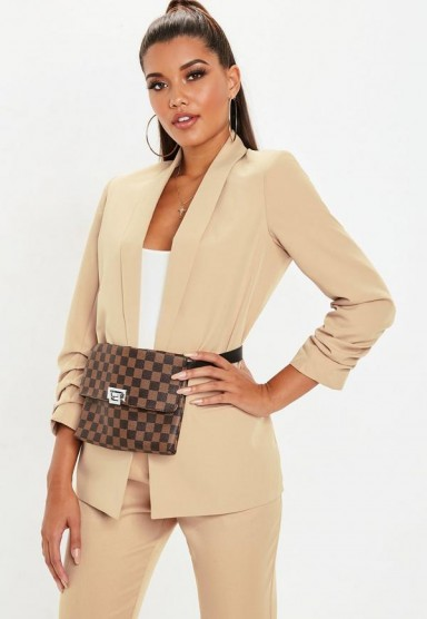 MISSGUIDED nude ruched sleeve blazer – neutral jackets