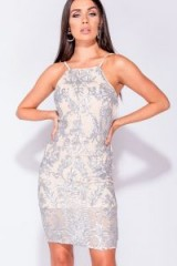 PARISIAN NUDE WHITE SEQUIN FRONT STRAPPY BODYCON MINI DRESS | embellished party frock