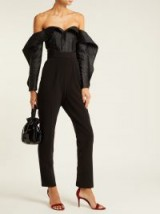 SELF-PORTRAIT Off-the-shoulder jacquard and crepe jumpsuit ~ black bardot