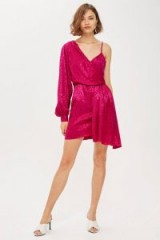 TOPSHOP One Shoulder Drop Jacquard Dress in pink / shiny one sleeve mini