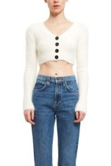 Opening Ceremony ANGORA CROPPED RIB CARDIGAN in WHITE | luxe knitwear