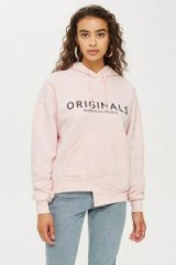 TOPSHOP 'Originals' Pale Pink Logo Hoodie / slogan hooded top