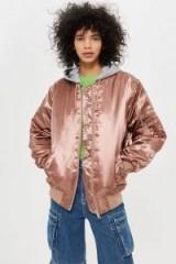 TOPSHOP Pink Oversized Longline Bomber Jacket