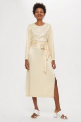 Topshop Ovoid Sleeve Midi Dress Champagne / luxe style