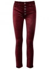 PAIGE Hoxton skinny burgundy velvet jeans | dark red skinnies
