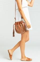 PAMELA V ~ MYRA STUD BUCKET BAG COGNAC / brown leather tasseled boho bag