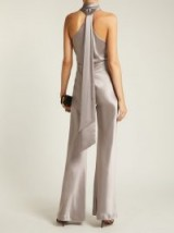 GALVAN Pandora halter-neck grey satin jumpsuit ~ draped back halterneck