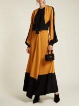 PROENZA SCHOULER Orange and Black Panelled tie-waist crepe dress