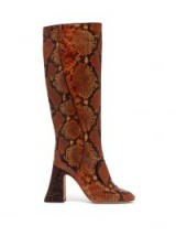 ROCHAS Pascal glitter-heel brown faux-python knee boots | autumn colours