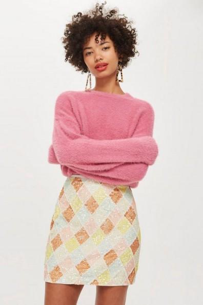 cf47c7b4 TOPSHOP Pastel Diamond Sequin Mini Skirt / pretty pastels ...