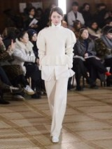 LEMAIRE Cream Peplum-hem ribbed-knit wool sweater ~ beautiful knitwear ~ softly structured knits