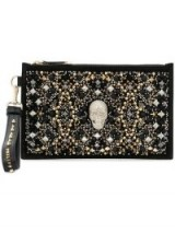 PHILIPP PLEIN skull and stud embellished clutch – studded party pouch