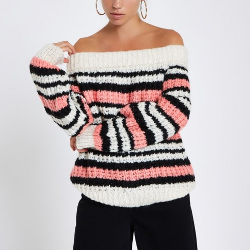 River Island Pink stripe knitted bardot jumper – casual glamour – off the shoulder knitwear