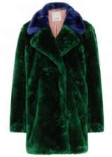 PINKO Bottle green faux fur coat | dark blue trim