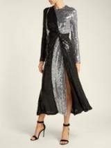 GALVAN Black and Silver Pinwheel sequinned silk dress – metallic event wear