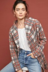 ANTHROPOLOGIE Plaid Wool Coat in Neutral / checked hooded jacket