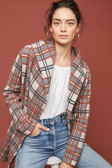 ANTHROPOLOGIE Plaid Wool Coat in Neutral / checked hooded jacket - flipped