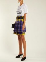 VERSACE Pleated purple tartan wool mini skirt – mixed checks