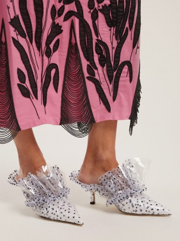 MIDNIGHT Polka-dot tulle and PVC mules in White ~ romantic kitten heels