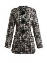 DOLCE & GABBANA Pompom-embellished black and white tweed jacket ~ longline bouclé jackets ~ stylish Italian clothing