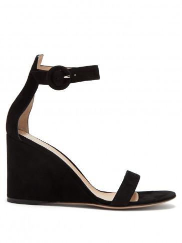 GIANVITO ROSSI Portofino 85 black suede wedge sandals | ankle strap wedges