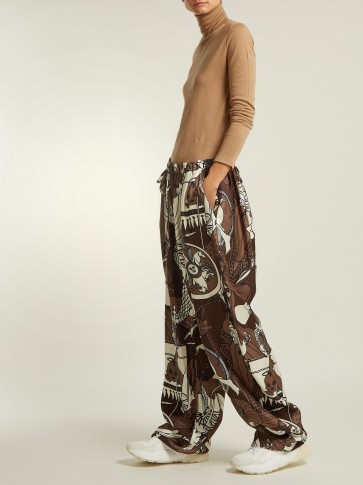 EDWARD CRUTCHLEY Brown Printed silk wide-leg trousers ~ mythical prints ~ casual luxe