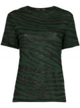 PROENZA SCHOULER black and green tiger print cotton t-shirt – animal prints – classic shape tee