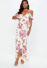 Missguided purple floral frill wrap maxi dress – feminine evening look