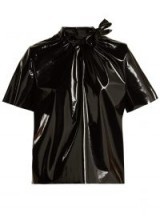 MSGM Black PVC top ~ gathered tie-fastening neck