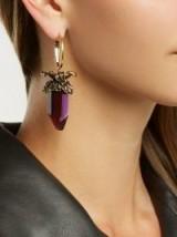 ALEXANDER MCQUEEN Purple Quartz-drop earrings ~ chunky crystal drops