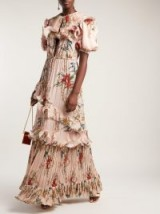 JOHANNA ORTIZ Queen of Sheeba dress – romantic light pink maxi – tropical flowers and bird prints