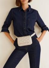 MANGO Quilted belt bag in ecru | neutral fanny pack