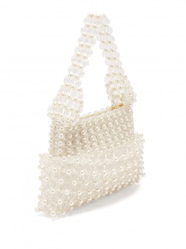 SHRIMPS Quinn cream faux-pearl embellished clutch / small vintage style handbag / luxury accessory