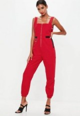 Missguided red backless utility dungaree jumpsuit | stylish utilitarian overalls
